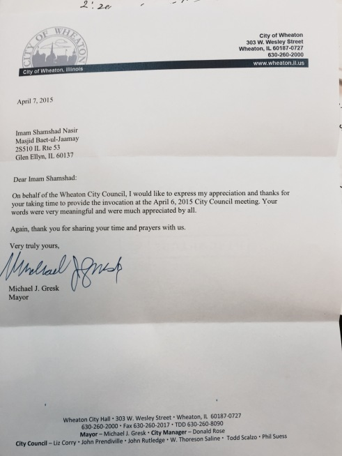 A Thank You Note to Ahmadiyya's Imam Nasir from Mayor of Wheaton