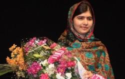 Malala Yousafzai poses for her Nobel Prize in October 2014