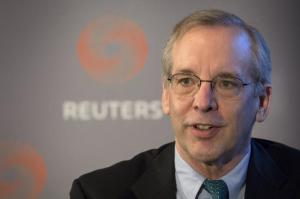 New York Federal Reserve Bank President William Dudley speaks at a Thomson Reuters newsmaker event in New York