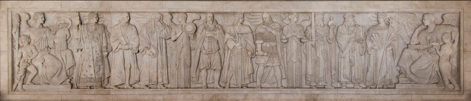 Figure 2. A frieze, designed by Adolph Weinman, on the north wall of the US Supreme Court depicts great lawgivers of the Middle Ages. US SUPREME COURT