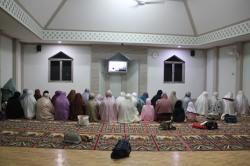 Around 50 Ahmadiyya followers join an evening prayer held on the first Sunday of Ramadan in Al-Hidayah mosque in Harmoni, Central Jakarta (Photo by Ryan Dagur)