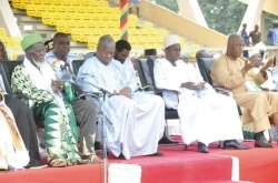 Vice-President Kwesi Amissah-Arthur, Mr Asiedu Nketia, the General Secretary of the NDC, and Alhaji Baba Kamara, Presidential Security Adviser, joined in the prayers as Sheikh Osman Nuhu Sharabutu, National Chief Imam, prayed for the nation. Pictures: EBOW HANSON