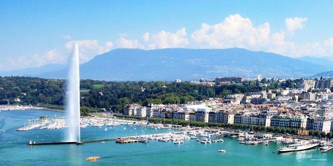 Aerial Image Geneva Switzerland
