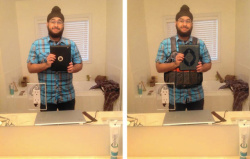 On the left, the original selfie by Sikh Veerender Jubbal taken by his iPad. On the right, the altered shot.   (Twitter)