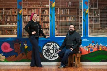 Rida Hamida, left, and Benjamin Vazquez are co-directors of the Andalusia Project. Photographed at the El Centro Cultural de Mexico headquarters in Santa Ana. ///ADDITIONAL INFO:    mexicanmuslim.1229.kjs  ---  Photo by KEVIN SULLIVAN / Orange County Register  --  12/23/15 Members of Orange County's Mexican and Muslim communities reach out to one another and try to learn about each other's cultures through common historic roots in the Andalusian Era in Spain. Arabs in Spain had a significant impact on Spanish/Mexican food, language, music and architecture. In a political environment where rhetoric is sharp against Mexicans and Muslims, members of these OC communities say they want to craft their own narrative, on their own terms.  12/23/15