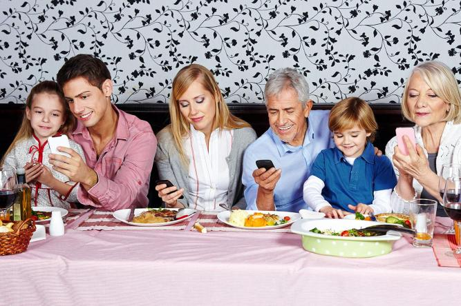 Family on phone
