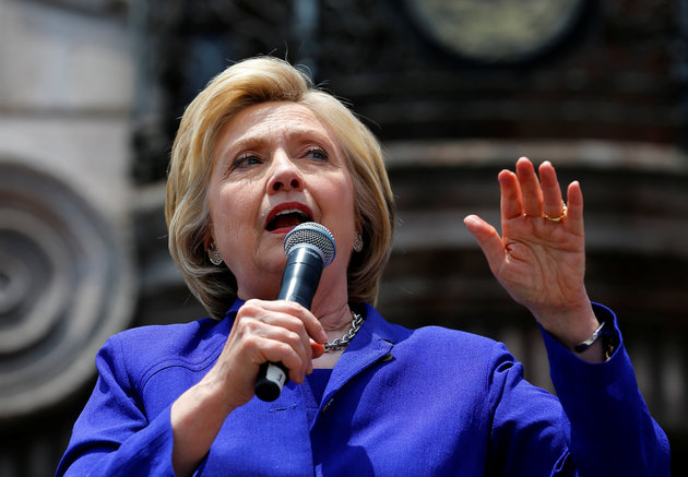 U.S. Democratic presidential candidate Hillary Clinton makes a speech during a campaign stop in Lynwood, California
