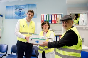 Mr Bernardic Davor, Croatian Parliament Member donating the item to head of Hospital