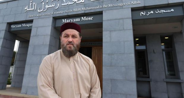 Imam Ibrahim Noonan at the entrance to the Maryam Mosque on the Old Monivea Road