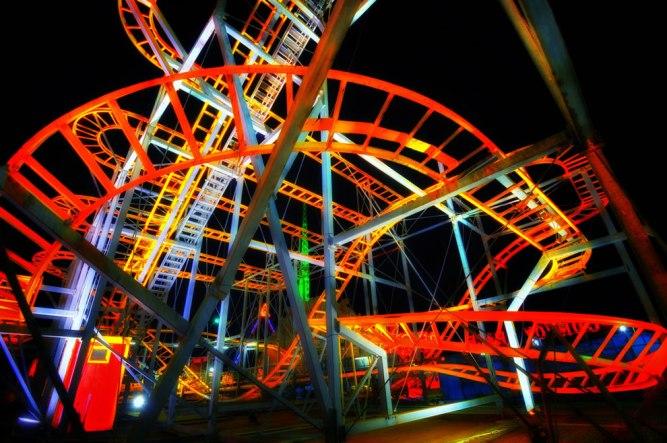 Roller-coaster-at-night