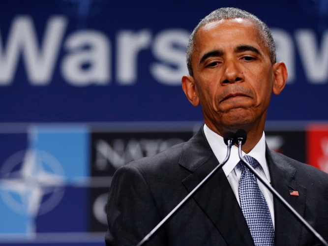 U.S. President Obama holds a news conference after participating in the NATO Summit in Warsaw, Poland