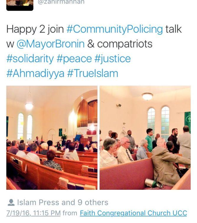 USA-Ahmadiyya Muslim Community CT participates in peace dialogue at Hartford Church