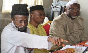 From left: Amir, Ahmadiyya Muslim Jamaát Nigeria, Dr Mashhud Adenrele Fashola; Naib Amir, Northern Region, Dr Yeqeen Habeeb and Naib Amir, South West, Dr Abdul Azeez Alatoye, during the post-Ramadan dinner, in Lagos.