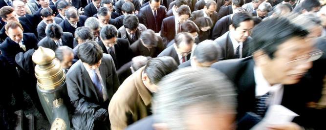 Japanese Businessmen rush toward to the