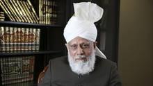 Mirza Masroor Ahmad, leader of the Ahmadiyya Muslim Community, sits near the Baitul Islam Mosque in Maple, Vaughan, Ontario. (Julian Liurette/The Globe and Mail)