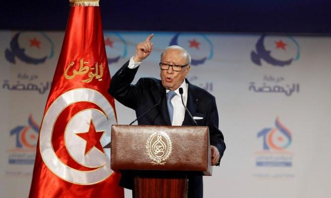 Tunisian President Beji Caid Essebsi speaks during the congress of the Ennahda Movement in Tunis, Tunisia