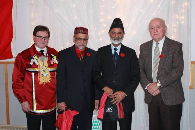 Brendan Mitchell, Qalipu First Nation Band chief; Dr. Mohamed Boodhun; Lal Khan Malik, national president of the Ahmadiyya Muslim Community; and Andy Barker. - Samantha Gardiner