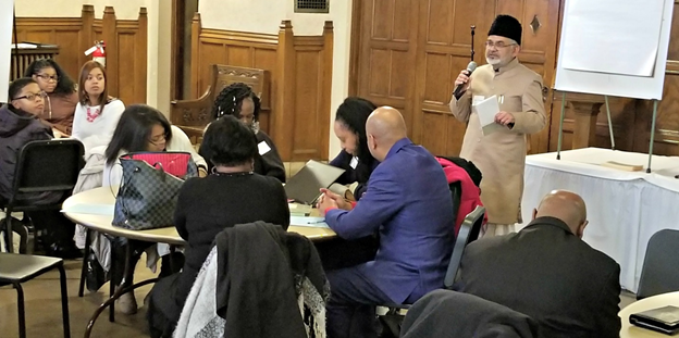 Ahmadiyya Muslim Community's Imam Shamshad Nasir @ Detroit's Regional Interfaith Retreat held at Metropolitan United Methodist Church