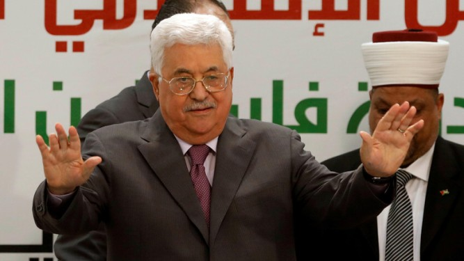 Palestinian President Mahmoud Abbas gestures during a conference on Jerusalem, in Ramallah in the occupied West Bank