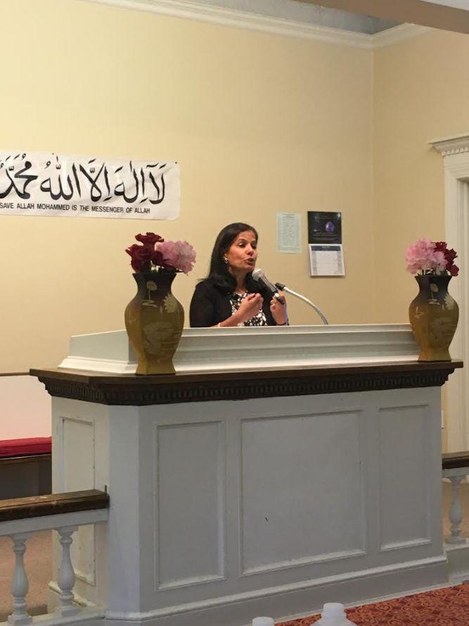 Mrs. Gursahaney spoke about Hinduism at the Interfaith Symposium hosted by the Ahmadiyya Muslim Community