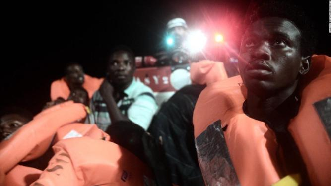 Rescue boat carrying 692 migrants from off the coast of Libya.