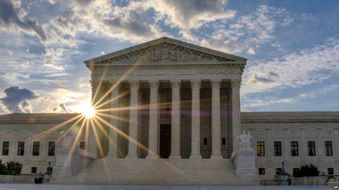 US Supreme Court with sunshine