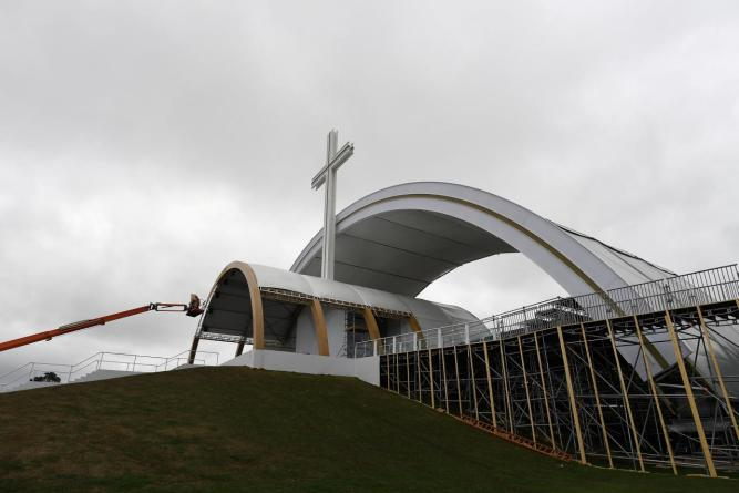 The stage from where Pope Francis will deliver mass is seen under construction in the Phoenix Park in Dublin