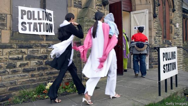 Muslim women at polling station