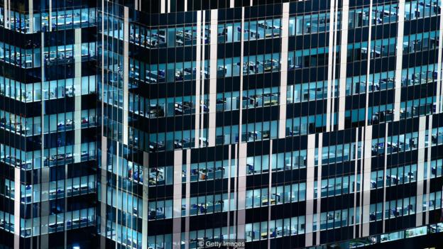office windows at night