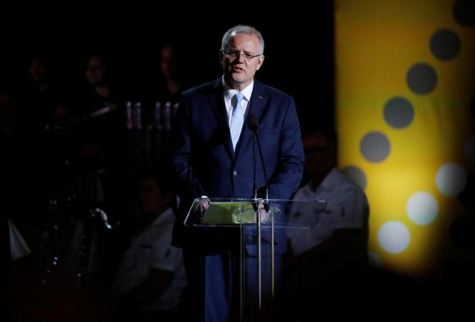 Australian Prime Minister Scott Morrison speaks during the opening ceremony of the Invictus Games at the Sydney Opera House, Sydney