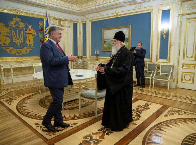 Ukraine's President Poroshenko meets with Patriarch Filaret, head of the Ukrainian Orthodox Church of the Kiev Patriarchate, in Kiev