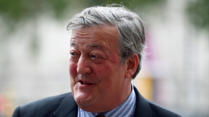 Actor Stephen Fry attends a Service of Thanksgiving for Sir Peter Hall at Westminster Abbey in London
