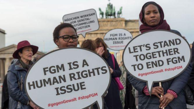 Kundgebung gegen weibliche Genitalverstuemmelung in Berlin