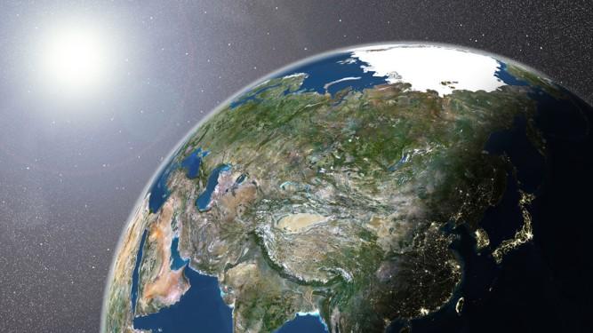 Globe Showing Asia, True Colour Satellite Image