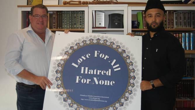 United we Stand: UNITED: Wright MP Scott Buchholz and Baitul Masroor Mosque Imam Wadood Janud at the Baitul Masroor Mosque. Photo: Jacob Wilson