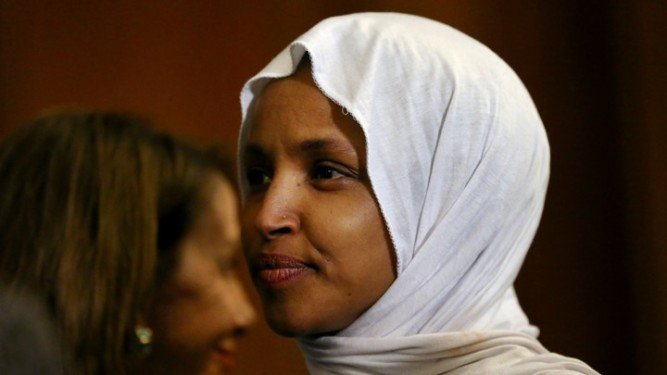 FILE PHOTO: U.S. Representative Ilhan Omar (D-MN) at an event in the U.S. Capitol building in Washington