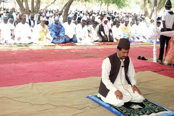 Maulvi Naeem Ahmad Cheema, Deputy Ameer of Ahmadiyya Muslim Mission, leading a prayer session at this year's Eid ul-Adha festival at Ashongman in Accra. Picture: GABRIEL AHIABOR