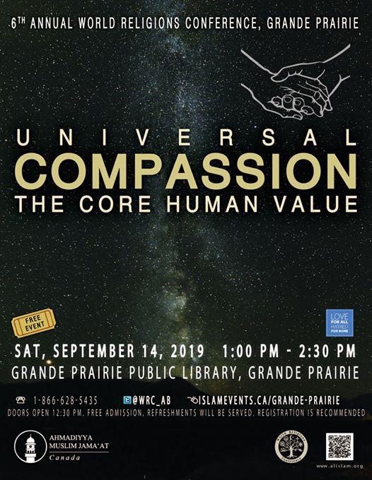 Ahmadiyya Muslim Jamaat Canada to host 6th Annual World Religions Conference in Grande Prairie, Alberta