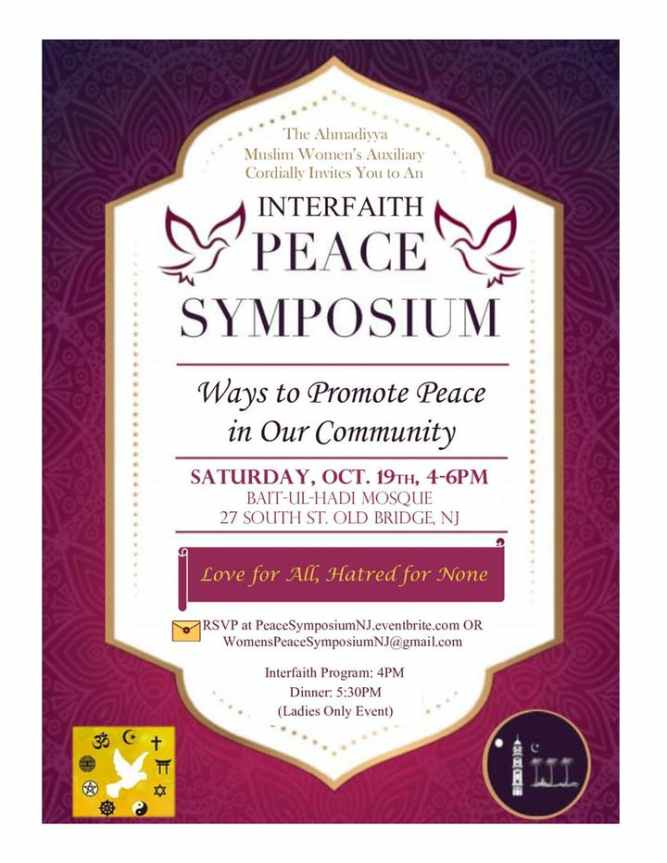 Women's Auxiliary of the Ahmadiyya Muslim Community of Central & North Jersey to host Annual Interfaith Peace Symposium on 19th Oct.