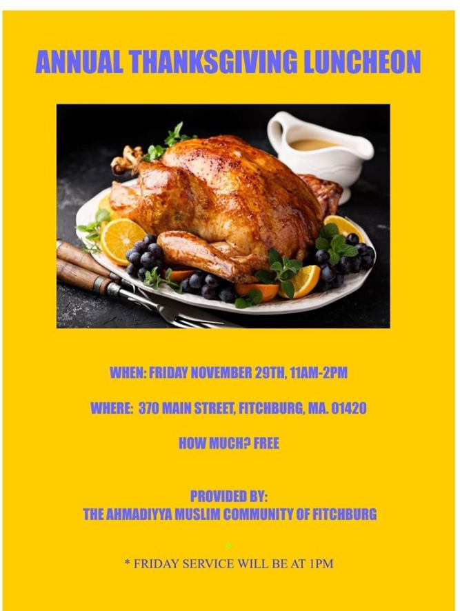 USA: Ahmadiyya Muslim Community Fitchburg invites you to Thanksgiving Luncheon