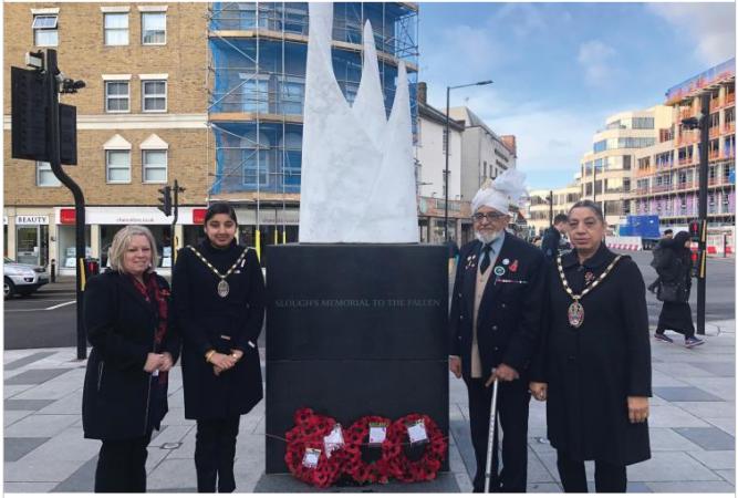 Members from the Ahmadiyya Muslim Community Slough & South Bucks lay wreaths across the borough on Remembrance Sunday