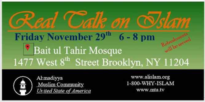 You're invited to 'Real Talk on Islam' by Ahmadiyya Muslim Community Brooklyn, NY