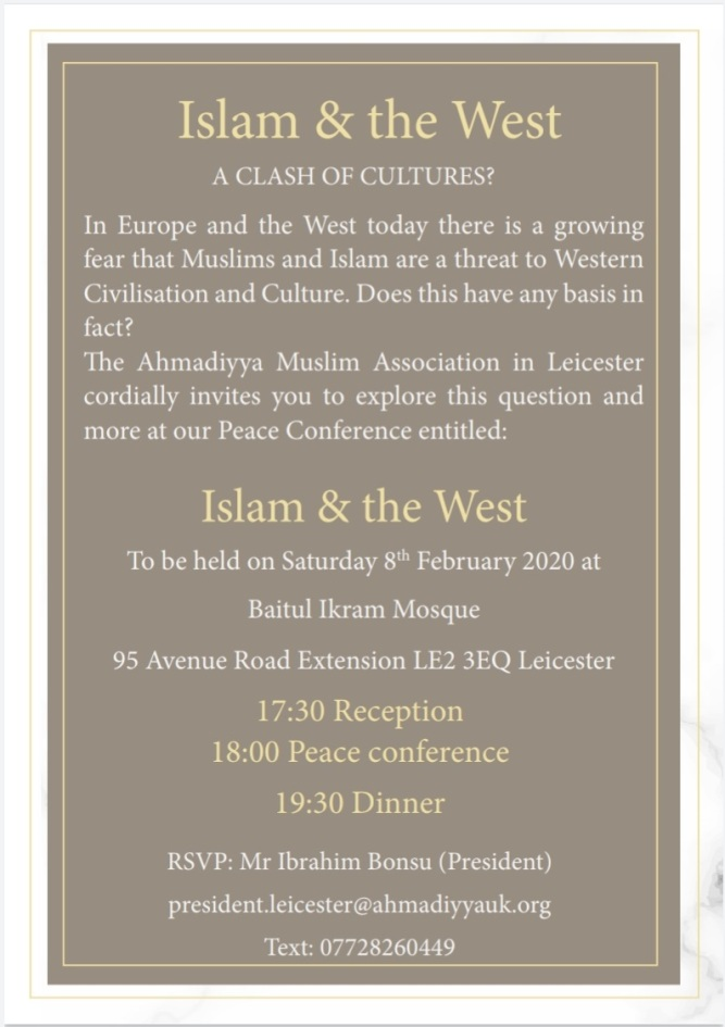 UK: Ahmadiyya Muslim Community Leicester to hold 'Islam And The West - A Clash Of Cultures?' on Feb 08th