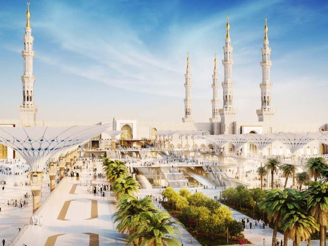 Mosque of medina with a garden